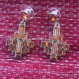 Beautiful geometric Amber-colored dangle earrings